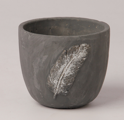 ceramic pot grey round with feather