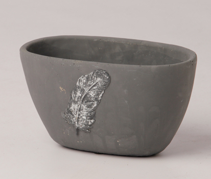 ceramic bowl oval grey with feather