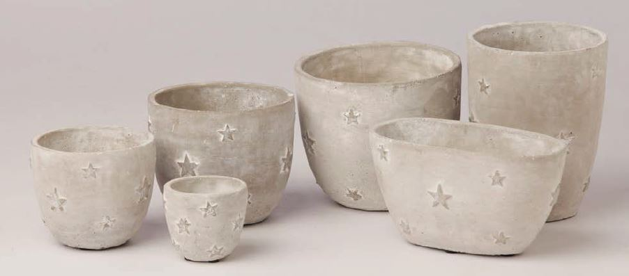 Cement pot high light gray with silver stars